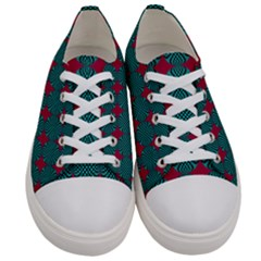 Mod Teal Red Circles Pattern Women s Low Top Canvas Sneakers