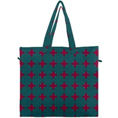 Mod Teal Red Circles Pattern Canvas Travel Bag by BrightVibesDesign