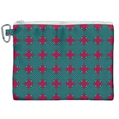 Mod Teal Red Circles Pattern Canvas Cosmetic Bag (xxl) by BrightVibesDesign