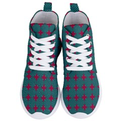 Mod Teal Red Circles Pattern Women s Lightweight High Top Sneakers by BrightVibesDesign