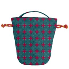 Mod Teal Red Circles Pattern Drawstring Bucket Bag by BrightVibesDesign