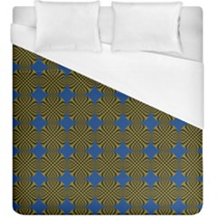 Mod Yellow Blue Circles Pattern Duvet Cover (king Size) by BrightVibesDesign