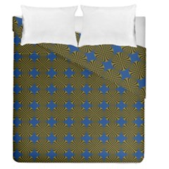 Mod Yellow Blue Circles Pattern Duvet Cover Double Side (queen Size) by BrightVibesDesign