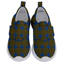 Mod Yellow Blue Circles Pattern Velcro Strap Shoes by BrightVibesDesign