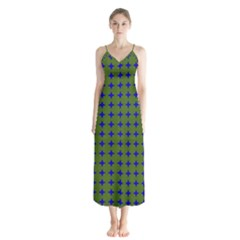 Mod Circles Green Blue Button Up Chiffon Maxi Dress by BrightVibesDesign