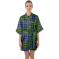 Mod Circles Green Blue Quarter Sleeve Kimono Robe by BrightVibesDesign