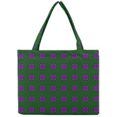 Mod Green Purple Circles Pattern Mini Tote Bag by BrightVibesDesign