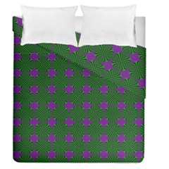 Mod Green Purple Circles Pattern Duvet Cover Double Side (queen Size) by BrightVibesDesign