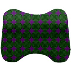 Mod Green Purple Circles Pattern Head Support Cushion by BrightVibesDesign