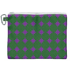 Mod Green Purple Circles Pattern Canvas Cosmetic Bag (xxl) by BrightVibesDesign