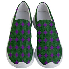 Mod Green Purple Circles Pattern Women s Lightweight Slip Ons by BrightVibesDesign