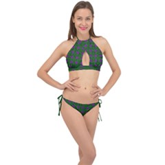 Mod Green Purple Circles Pattern Cross Front Halter Bikini Set