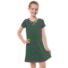Mod Green Purple Circles Pattern Kids  Cross Web Dress