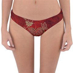 Wonderful Decorative Heart In Gold And Red Reversible Hipster Bikini Bottoms by FantasyWorld7