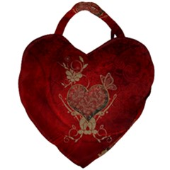 Wonderful Decorative Heart In Gold And Red Giant Heart Shaped Tote