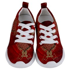 Wonderful Decorative Heart In Gold And Red Kids  Lightweight Sports Shoes