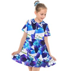 Purple Orchids Kids  Short Sleeve Shirt Dress