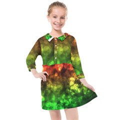 Red Green Bokeh Lights Kids  Quarter Sleeve Shirt Dress by bloomingvinedesign