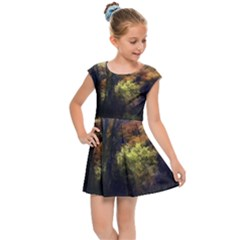 Fall Abstract Landscape Kids Cap Sleeve Dress by bloomingvinedesign
