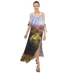 Fall Abstract Landscape Maxi Chiffon Cover Up Dress by bloomingvinedesign