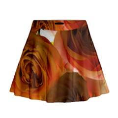 Orange Roses Mini Flare Skirt by bloomingvinedesign