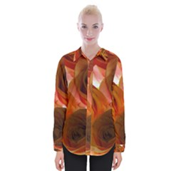 Orange Roses Womens Long Sleeve Shirt by bloomingvinedesign