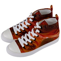 Orange Roses Women s Mid Top Canvas Sneakers by bloomingvinedesign