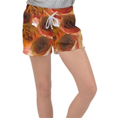 Orange Roses Women s Velour Lounge Shorts
