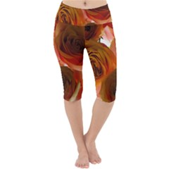 Orange Roses Lightweight Velour Cropped Yoga Leggings by bloomingvinedesign