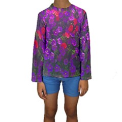 Purple Petunias Kids  Long Sleeve Swimwear