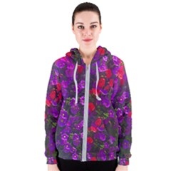 Purple Petunias Women s Zipper Hoodie by bloomingvinedesign