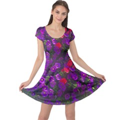 Purple Petunias Cap Sleeve Dress by bloomingvinedesign