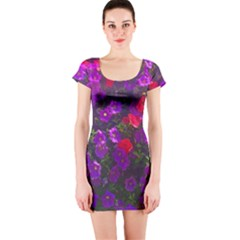 Purple Petunias Short Sleeve Bodycon Dress by bloomingvinedesign