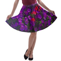 Purple Petunias A Line Skater Skirt by bloomingvinedesign