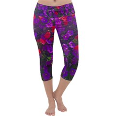 Purple Petunias Capri Yoga Leggings by bloomingvinedesign