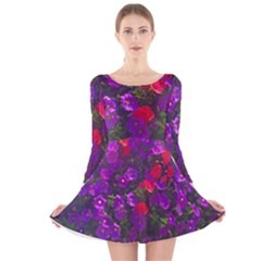 Purple Petunias Long Sleeve Velvet Skater Dress by bloomingvinedesign