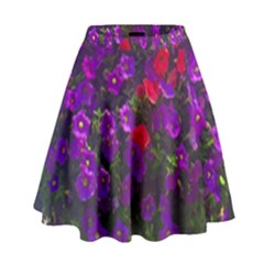 Purple Petunias High Waist Skirt by bloomingvinedesign