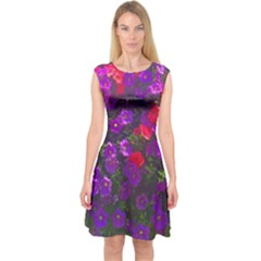 Purple Petunias Capsleeve Midi Dress by bloomingvinedesign
