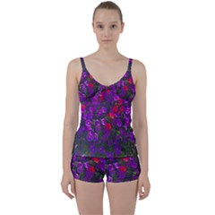 Purple Petunias Tie Front Two Piece Tankini by bloomingvinedesign