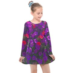 Purple Petunias Kids  Long Sleeve Dress by bloomingvinedesign