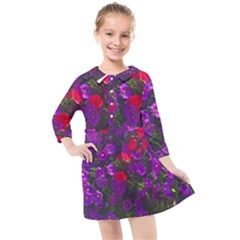 Purple Petunias Kids  Quarter Sleeve Shirt Dress by bloomingvinedesign