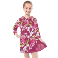 Motif Design Textile Design Kids  Quarter Sleeve Shirt Dress by Simbadda