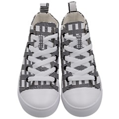 Seamless Stripe Pattern Lines Kid s Mid Top Canvas Sneakers
