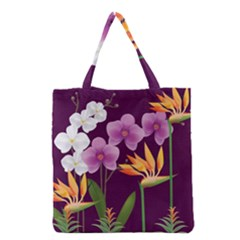 White Blossom Flower Grocery Tote Bag