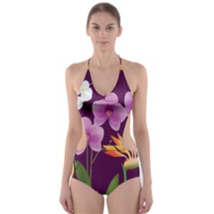 White Blossom Flower Cut Out One Piece Swimsuit