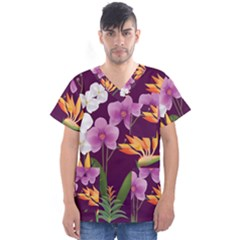 White Blossom Flower Men s V Neck Scrub Top