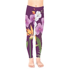 White Blossom Flower Kids  Legging
