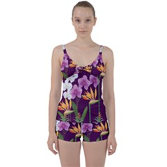 White Blossom Flower Tie Front Two Piece Tankini
