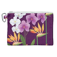 White Blossom Flower Canvas Cosmetic Bag (xl) by Simbadda