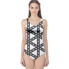 White Background White Texture One Piece Swimsuit